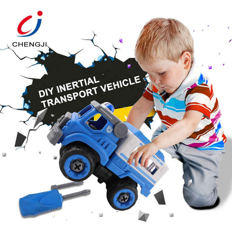 Eco friendly children intelligent toys battery operated construction diy truck