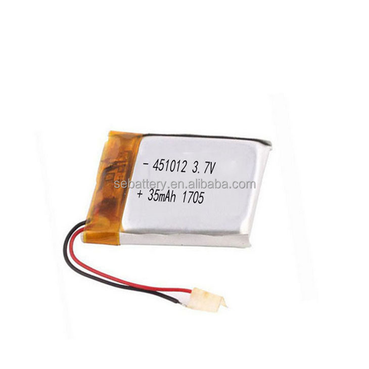 Small Li-ion polymer LP451012 35mAh 3.7V Li-polymer battery LiPo with PCM