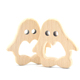 Custom Logo Natural Beech Wood Teether Toys Penguin Shape Baby Teether