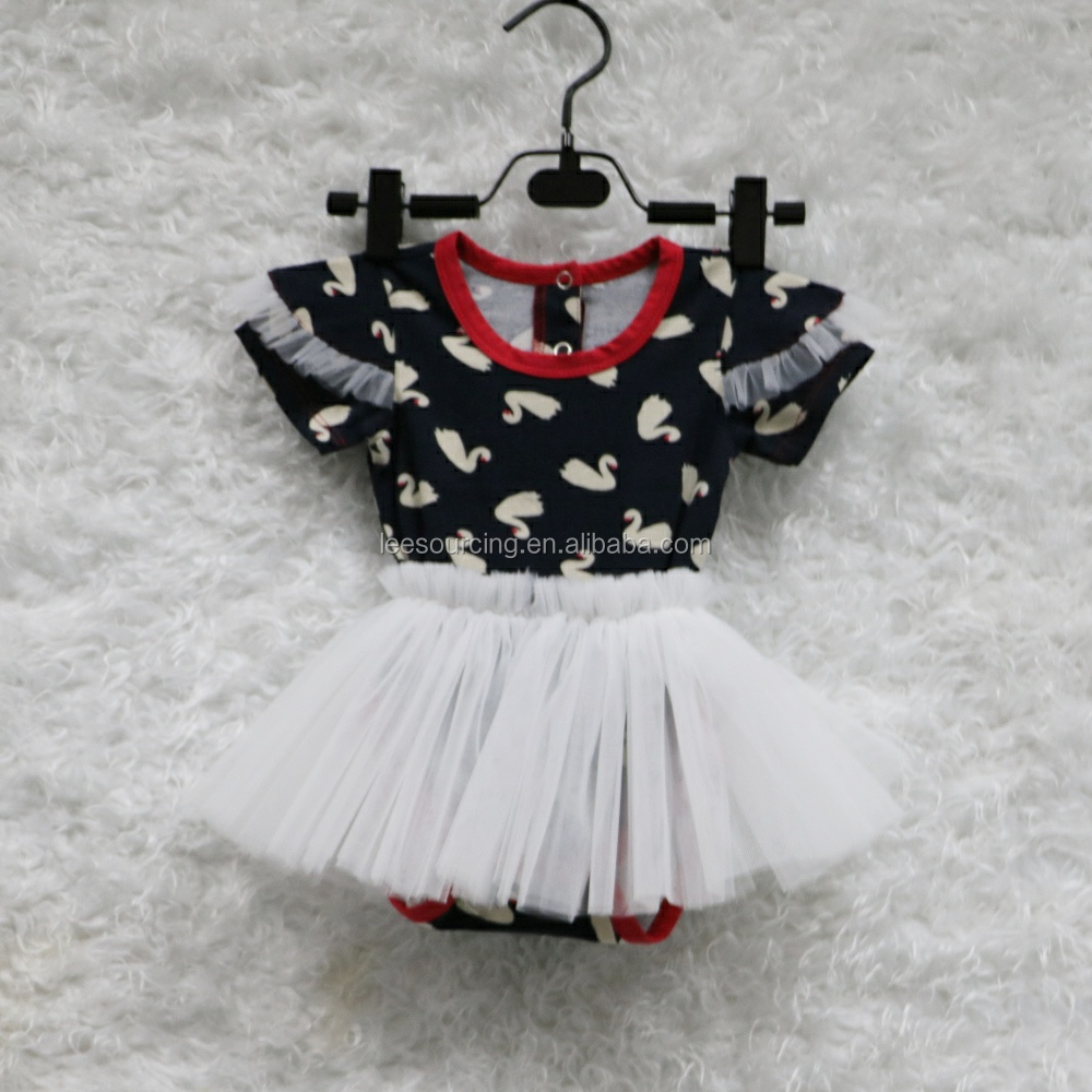 2016 New arrival swan baby girl tutu dress baby girl romper dress knit printing baby romper