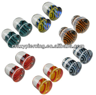 Hot Sale Wholesale Fashion Glass Single Flared Tiger Stripes Glass ear Plugs