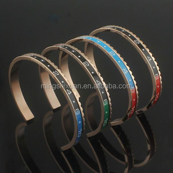 2015 new design three tone color fashion speedometer cuff bangle bracelet mens 316l stainless steel jewelry