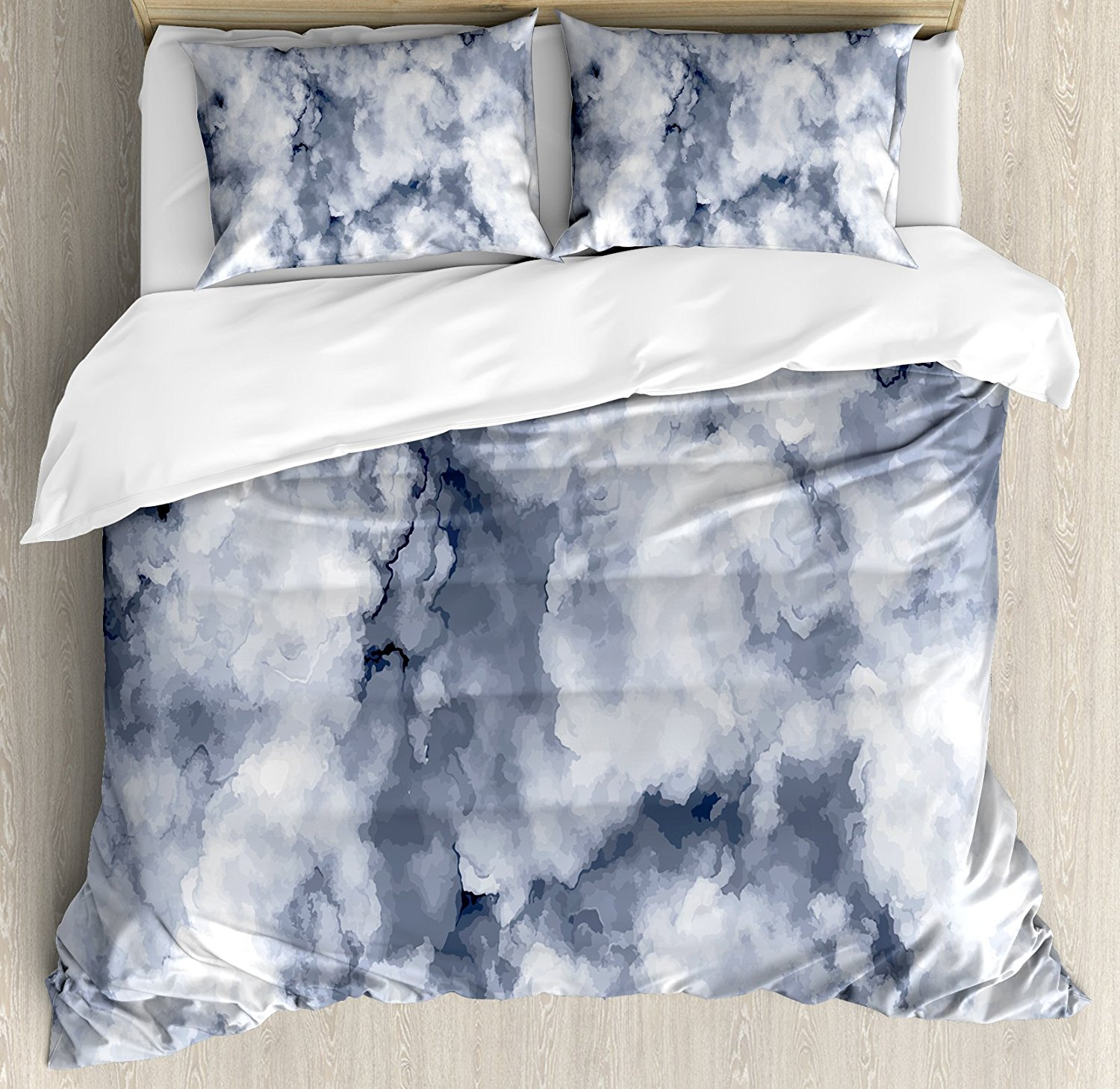 Ambesonne Marble Duvet Cover Set Queen Size, Cloudy Stylized Artistic Marble Pattern with Foggy Effects Abstract Display, Decorative 3 Piece Bedding Set with 2 Pillow Shams, Cadet Blue Dust
