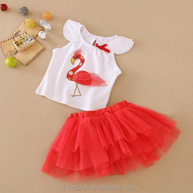 7e99ed494dcd22 Wholesale - Summer Baby Girls Tutu Dress suits beans fly infant 2pcs set(top+ruffle  skirt) Girls Princess outfit Kids clothing