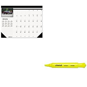 KITHOD169UNV08861 - Value Kit - House Of Doolittle Classic Cars Photographic Monthly Desk Pad Calendar (HOD169) and Universal Desk Highlighter (UNV08861)