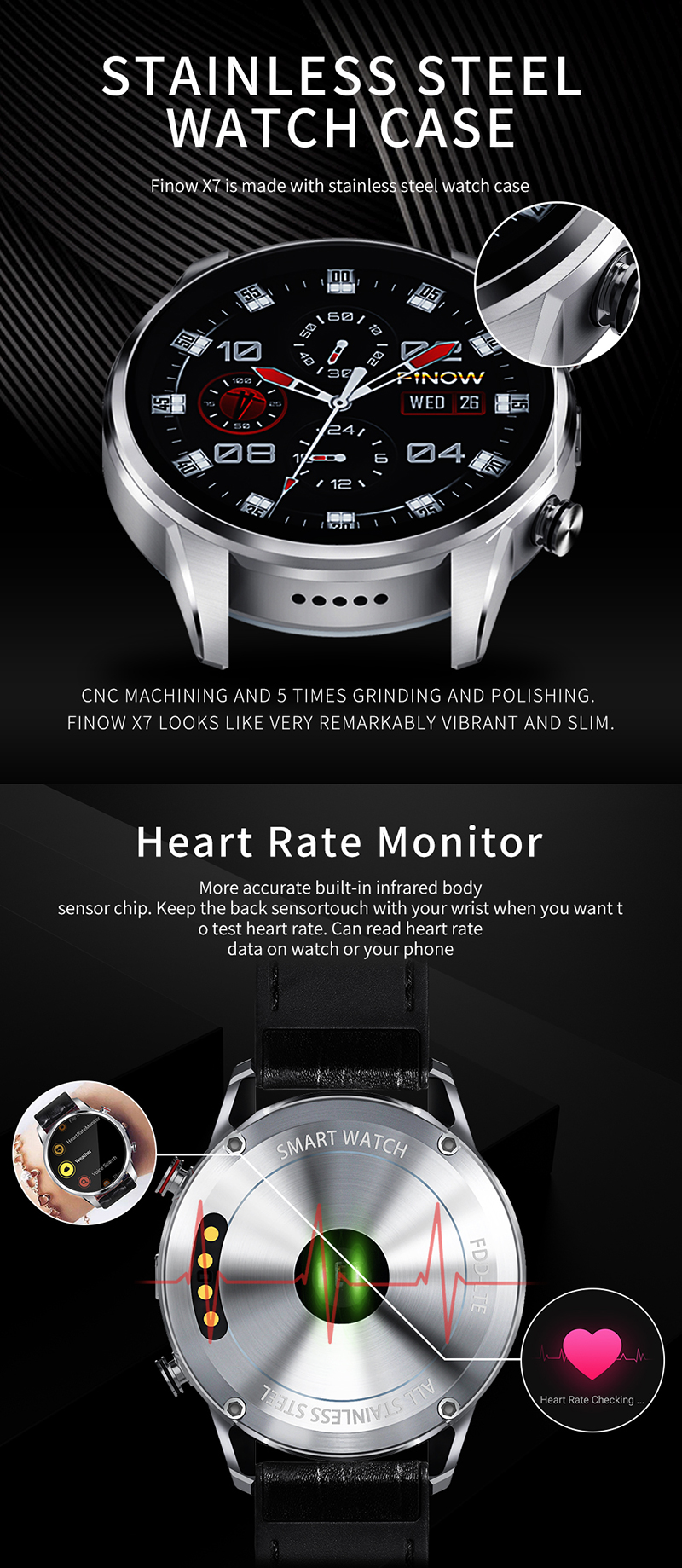 "Finow X7 4G Android 7.1 Smart Watch 1.39"" AMOLED 400*400 Display MTK6739 Quad Core 1GB RAM 16GB ROM GPS 600mAh Smart Watch Men"