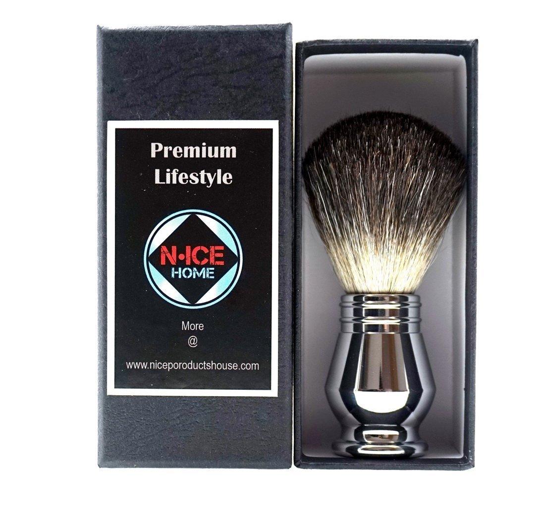 Deluxe Shaving Brush - Luxury Badger Shaving Brush with Deluxe Chrome Handle, High Density Pure Badger Hair Shaving Brush, Best Badger Shaving Brush, Badger Hair Shaving Brush (Chrome)