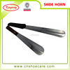 hot sale long metal shoe horns with leather cover handle