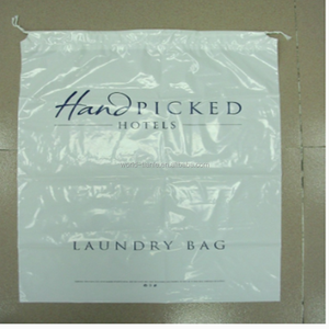 Dry cleaner laundry drawstring bag ,cheap hotel laundry bag package
