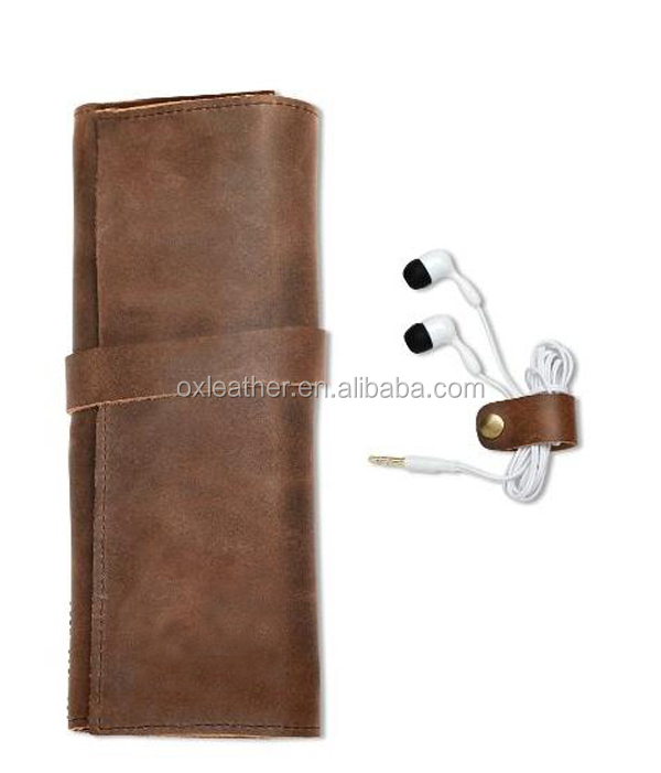 Genuine Crazy Horse Vintage Leather Pen Pencil Sleeve Roll Up Are Accessories Carrier Case Card heolder wallet Keys Holder