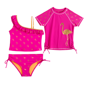 polyester spandex red short sleeve swimsuits little girls bikini briefs swimwear models three pieces