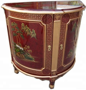 red chinoiserie lacquer oriental asia art furniture home half circle cabinet