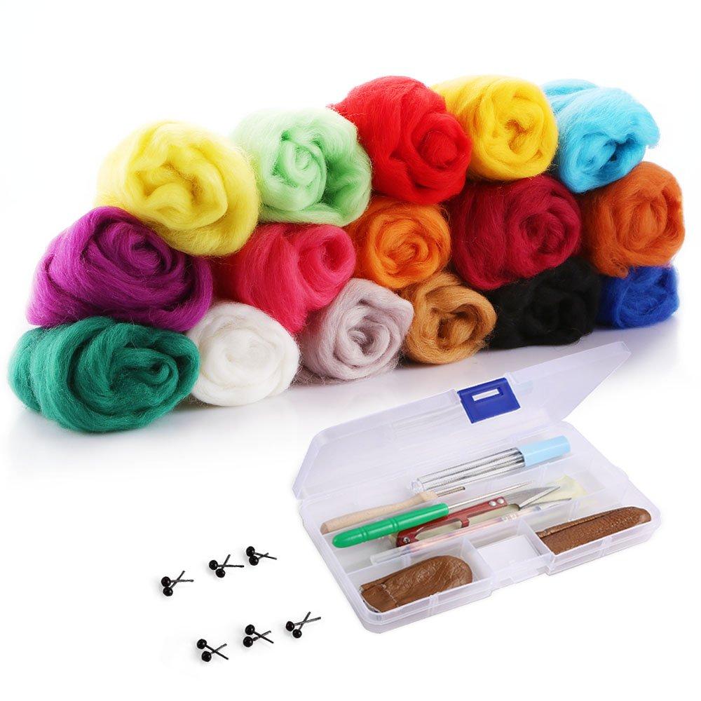 OPount Needle Felting Starter Kit Wool Felt Tools MatNeedle Felting Basic Kit with 16 Colors Wool Roving