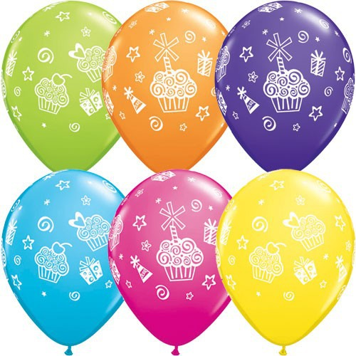 Round latex balloon beautiful cupcake printed thicken inferior smooth balloons happy birthday party decoretion essential