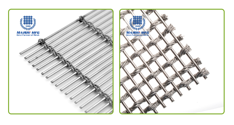 Copper and stainless steel decorative woven wire mesh