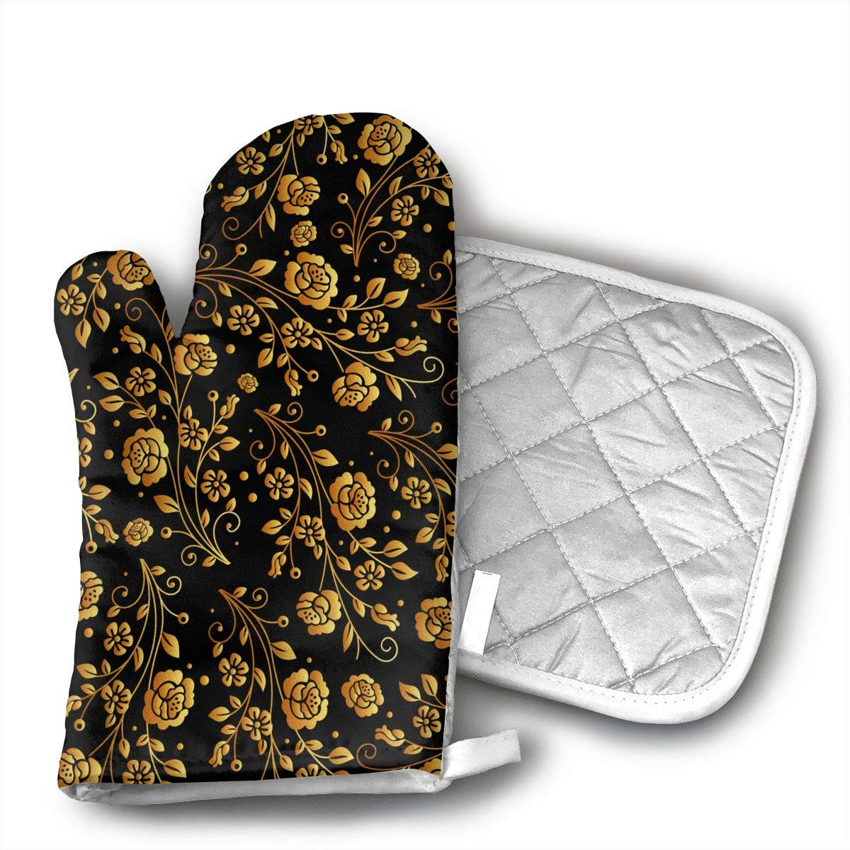 KUGUANG Black Gold Rose@Oven Mitts, Non-Slip Silicone Oven Mitts, Extra Long Kitchen Mitts, Heat Resistant to 500!aF Kitchen Oven Gloves