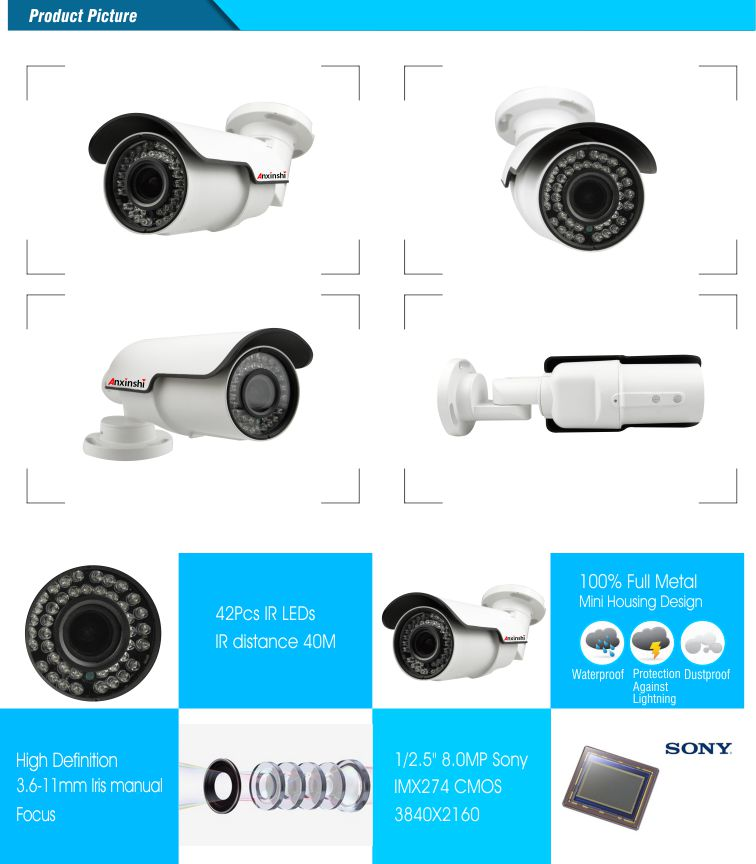 4k  8.0MP HD IP  Color IR Bullet CCTV Camera waterproof mmmotorized Auto Focus  3D reduction cheap price mini camera