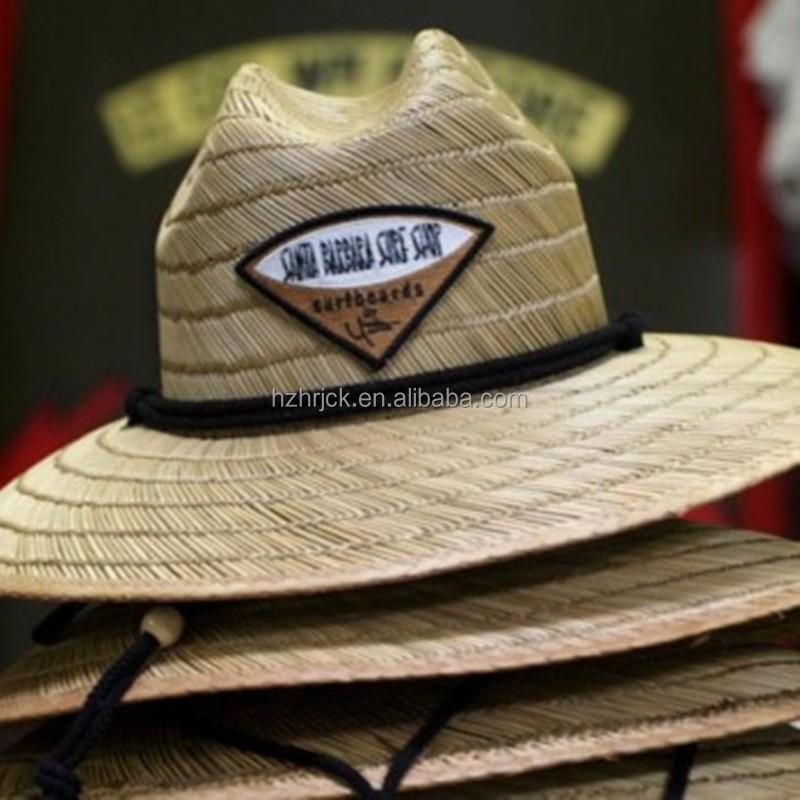 ccf8ffeb8c44d Atacado logotipo personalizado uso de pesca de praia de abas largas chapéu  de palha de Aba