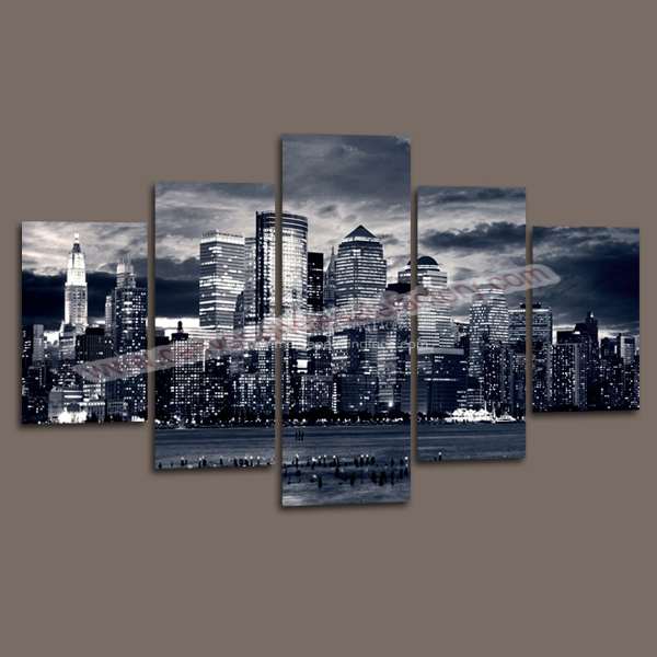 New York City Picture Canvas Painting Modern Wall Art: Unframed Cheap Wall Decor Canvas Painting City Custom