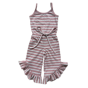 Summer one piece jumpsuit 100% cotton stripe girls jumpsuit for 1t-6t baby outfits