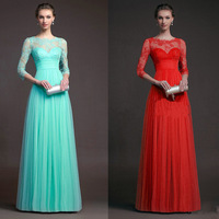 C66432A European style women's autumn long-sleeved lace red dress