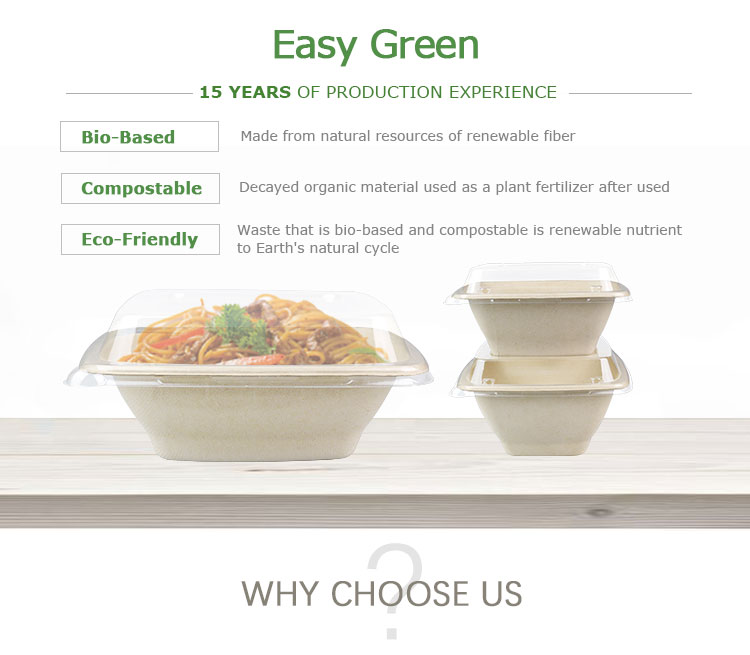 Easy Green 100% Biodegradable Bagasse 24oz Fresh/Dry Fruit Salad Storage Packaging Container Paper Bowls