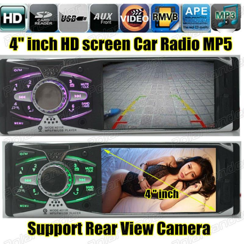 Поддержка камера заднего вида 4,0 '' дюймовый TFT HD экран автомобиль радио плеер USB SD aux в 1080 P радио 1 din автомобиль аудио стерео mp5