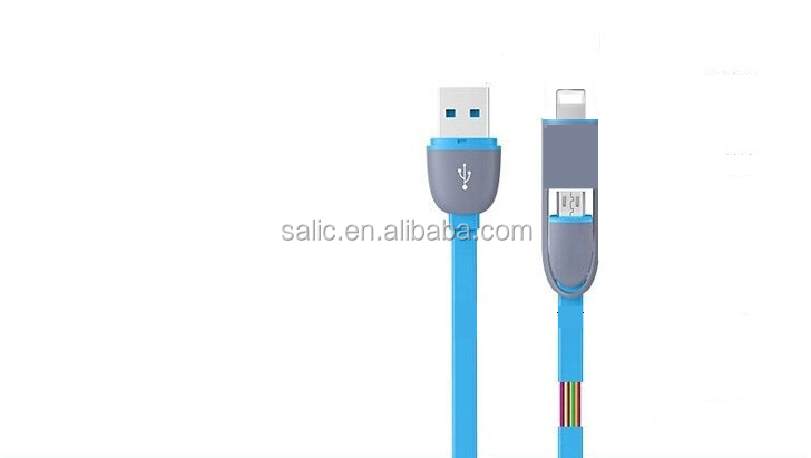Newest 2 in 1 conjoined dual function USB 2.0 micro usb cable for Iphone and Android