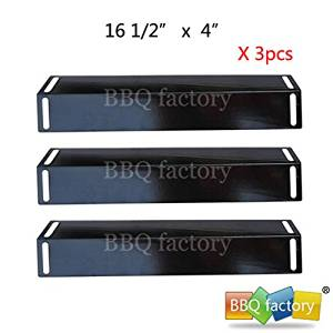bbq factory® Replacement Porcelain Steel BBQ Gas Grill Heat Plate / Heat Shield JPX151 (3-pack) Select Gas Grill Models By BBQ Grillware, Grill Chef , Perfect Flame, Uniflame and Others