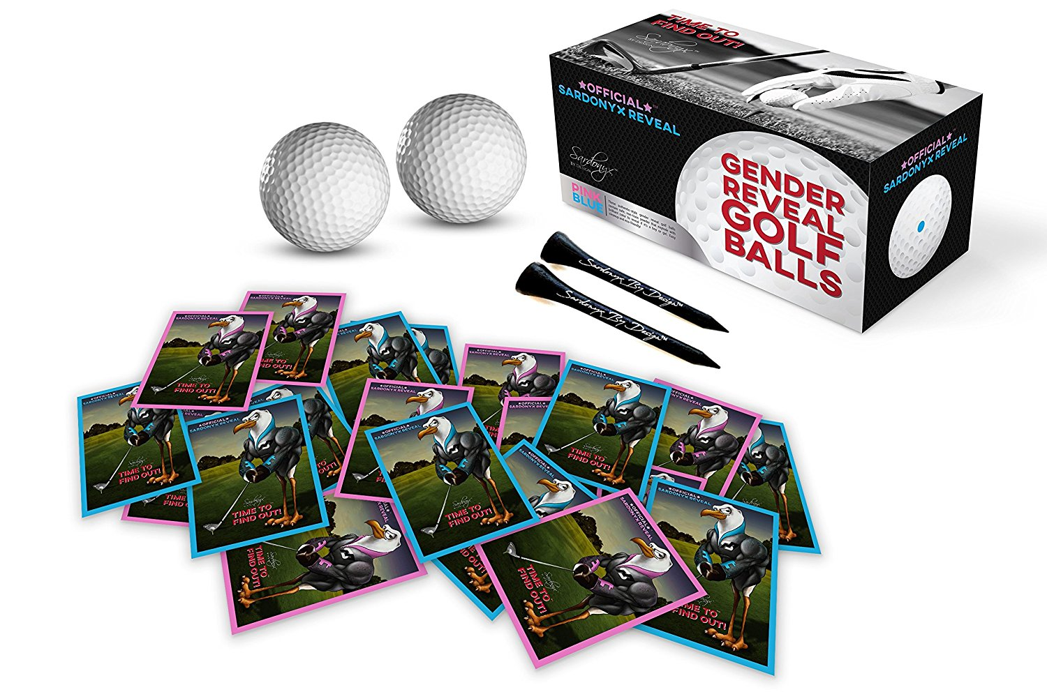Gender Reveal Exploding Golf Balls with Vibrant Pink & Blue Powder (Complete 24 Piece Set!) Includes: 2 Custom Golf Tees, 20 Team Stickers 10 Team Pink (Girl) 10 Team Blue (Boy)