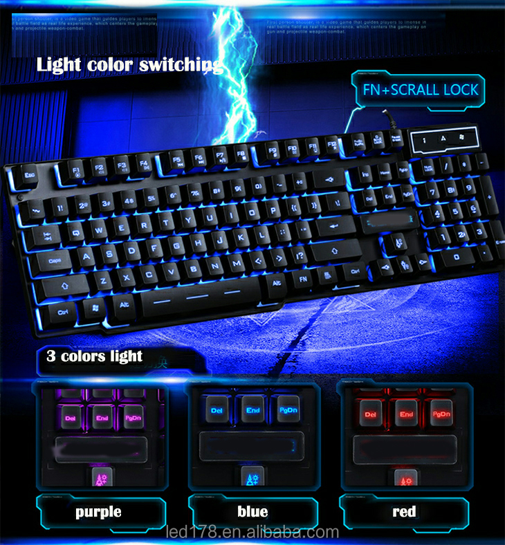 Factory Free Typing 3 Colors Custom Wired Backlit Gaming Keyboard