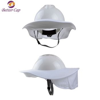 Anti sunshine sun shade Safety Helmet hard hat brim with neck flap in summer 9eaac5b5bb5