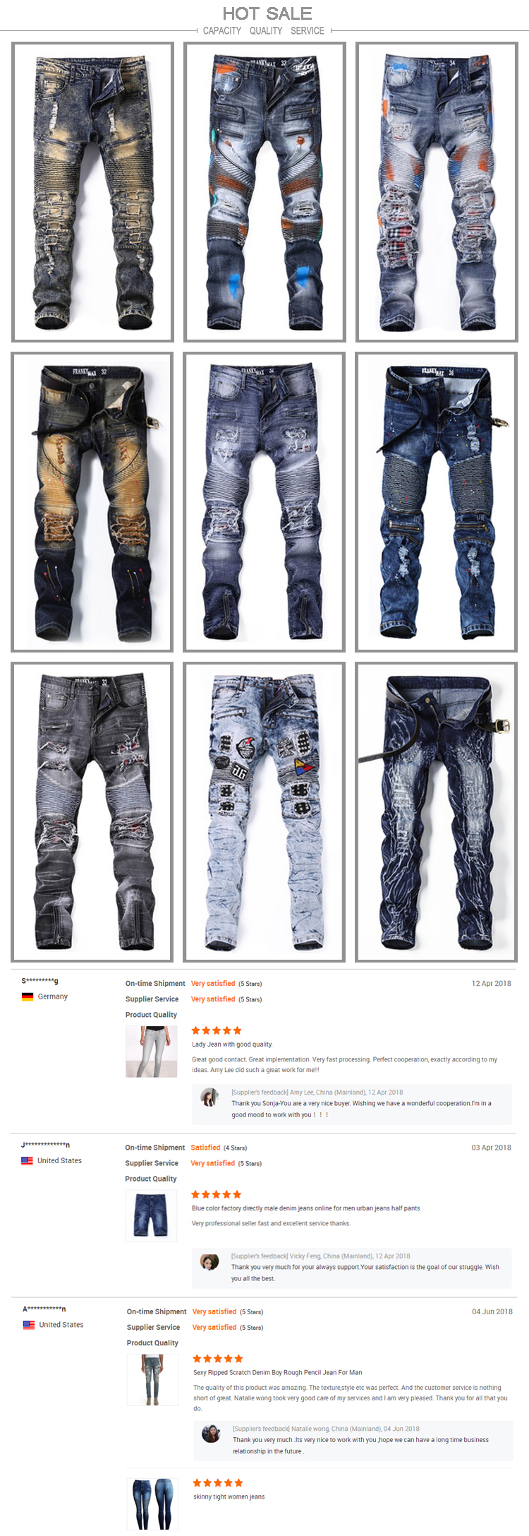 Color Fade Proof Dark Blue Biker Style Boys Damaged Painted Denim Lea Orange Label Slim Fit Jeans Pants Hitam Hot Sale