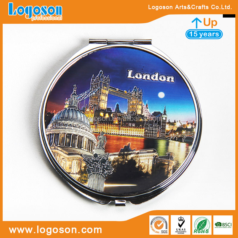 London Creative Souvenirs Metal Frame Mirrors Pocket Mirror with Logo Personalized Handheld Mirror