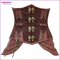 Brown Retro Gothic Steampunk Brocade Boned Big Women Corset Heavy Steel Chain Bustier TOP Underbust Corset