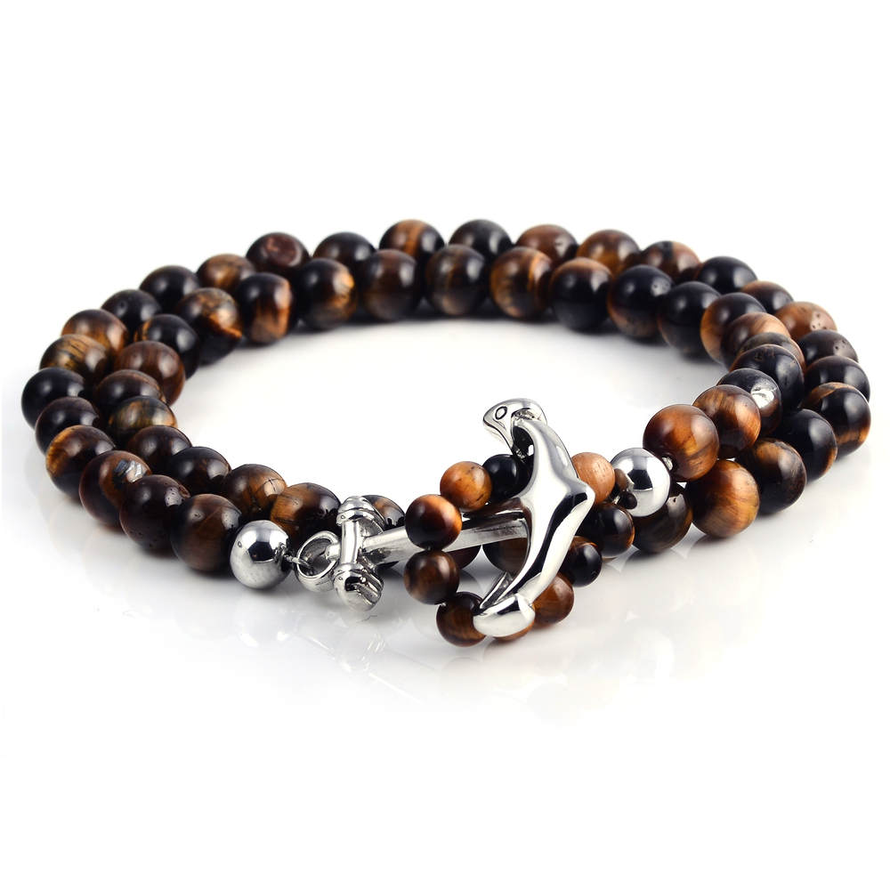 High Quality Elastic Mens Tiger Eye Stone Beaded Bracelet