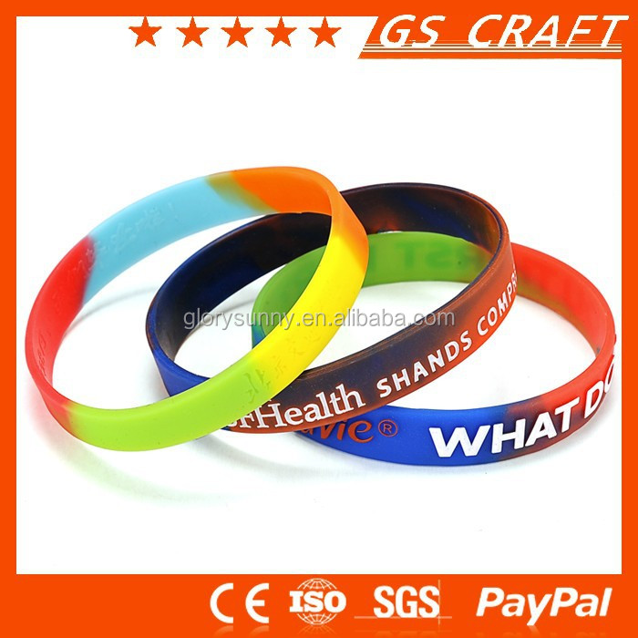Customized high quality lower price rainbow rubber bracelet