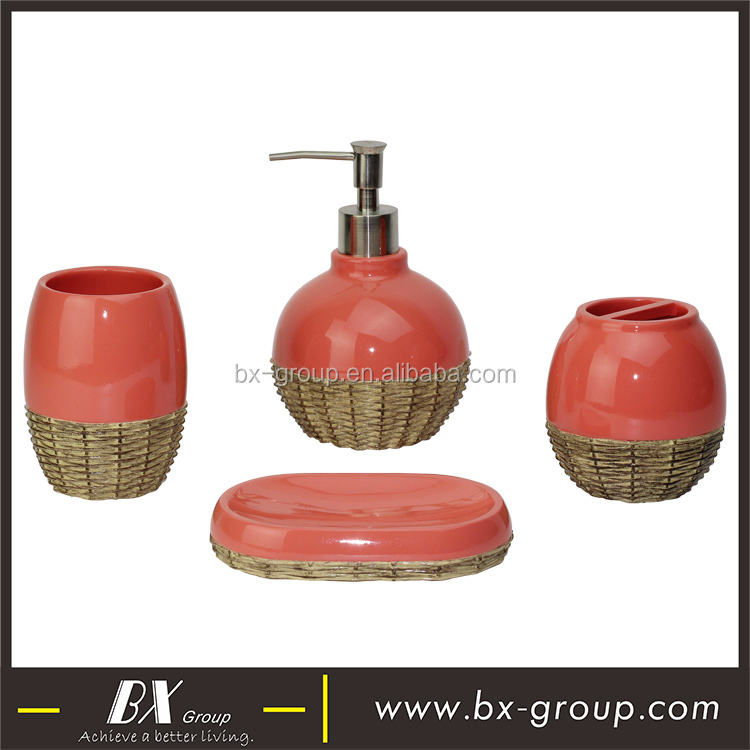 BX Group modern rattan lamp design red polyresin bathroom accessories set