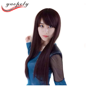 Xuchang Natural Looking Long Straight Dark Brown synthetic hair wigs for  children and women 06aa216fb