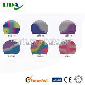 Best quality seamless round comfortable silicone purple swim cap,Multi-colour swimming cap