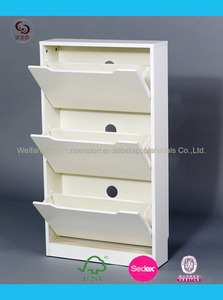 The latest style modern wooden shoe cabinet shoe rack 3 door