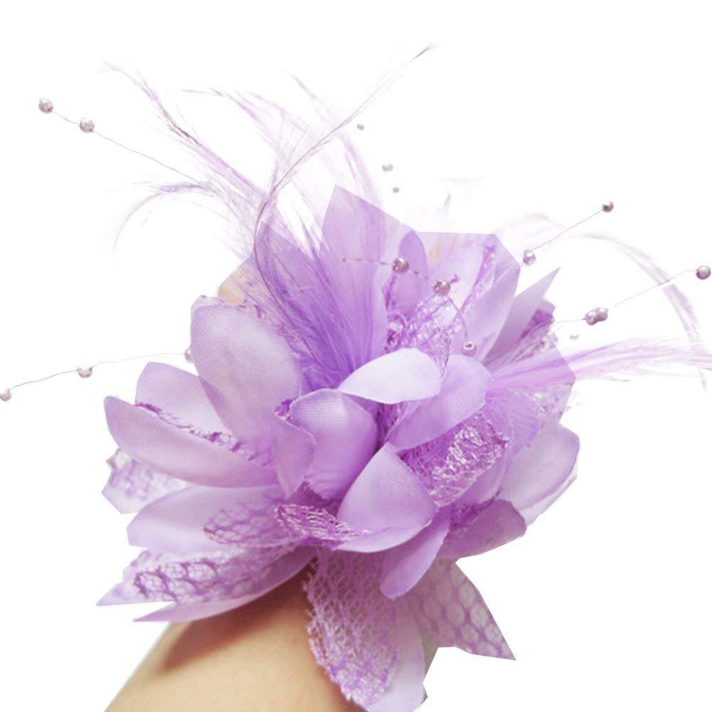 BAOBAO Wedding Bridal Flower Feather Bead Hairclips Fascinator Hairband Brooch Pin