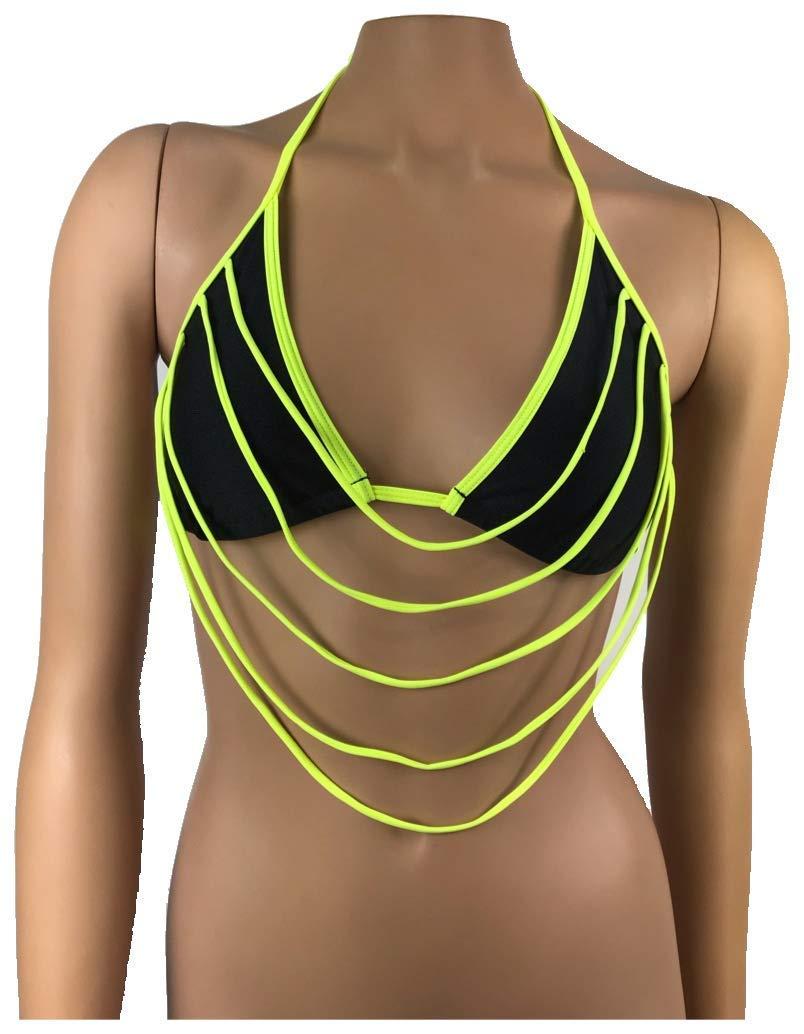 857ea4ed7b8c8 Get Quotations · Exotic Dancewear Triangle Bikini Top Rave Outfit Swimwear  Stripperwear Clubwear Polewear Beachwear Rave outfits Ravewear Glow