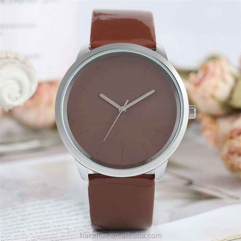 Sweet lady watch solid color sweet color no number jelly logo PU leather bracelet cute girl student quartz watch casual watch