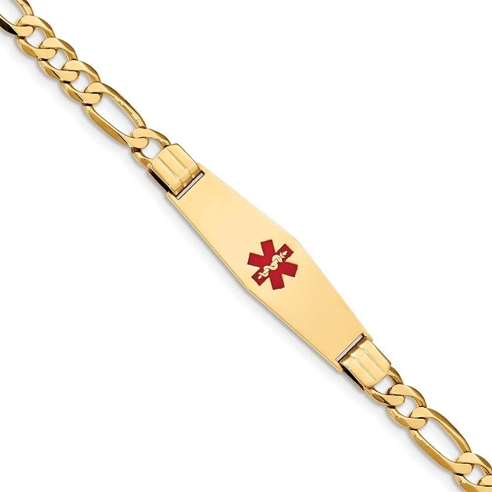 Perfect Jewelry Gift 14K Medical Soft Diamond Shape Red Enamel Flat Figaro Link ID Bracelet