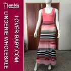 Lovely Stripe Fashion Summer Causal Woman Clothes Pink Sleeveless Bohemian Dress S M L XL Sizes Stock Available L51234-2