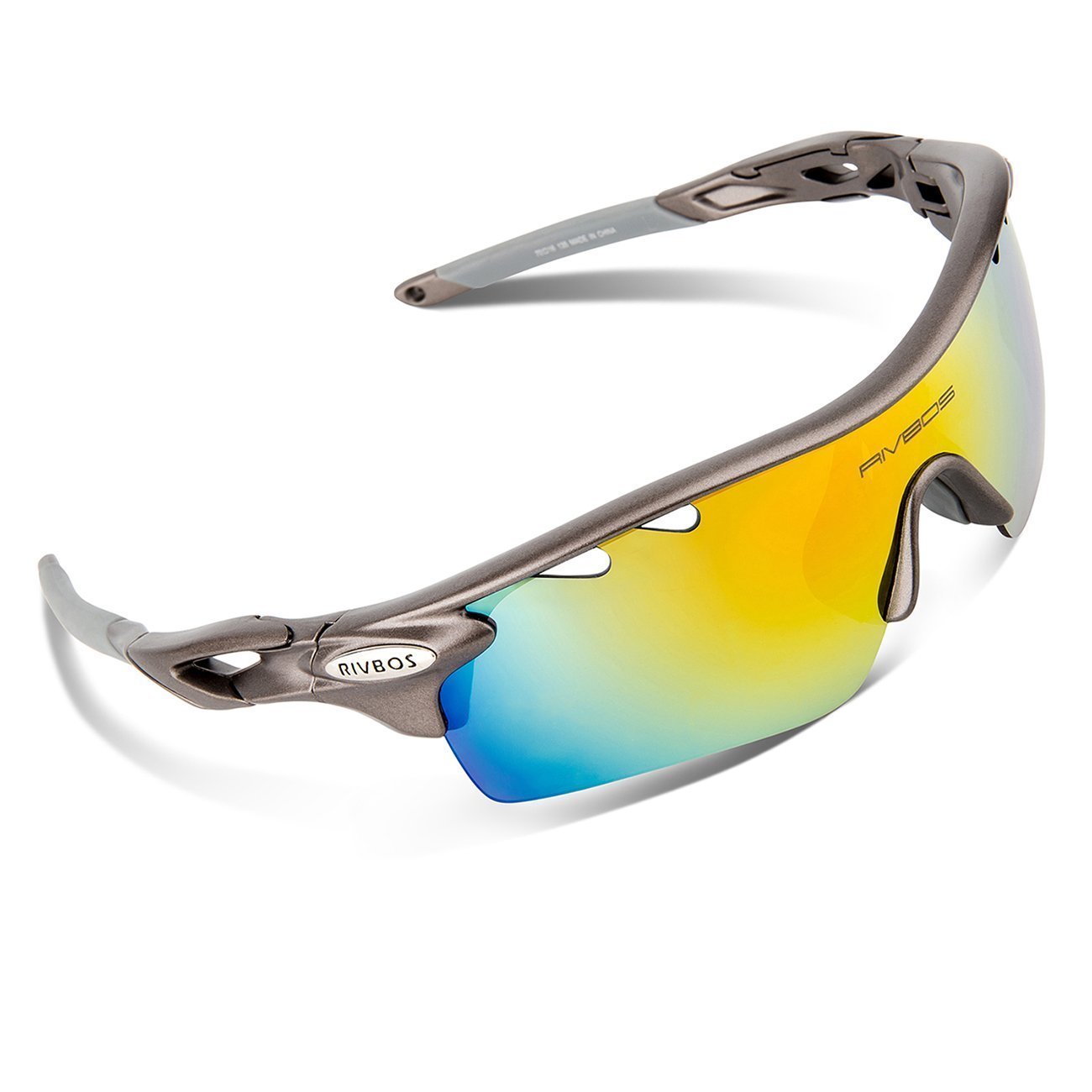 40986b21cb RIVBOS 801 Unisex Polarized Sports Sunglasses with 5 Interchangeable Lenses