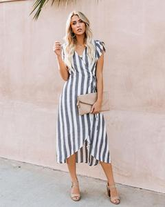 2019 Summer Women Striped Dress Casual Loose Formal Dresses Party Dresses