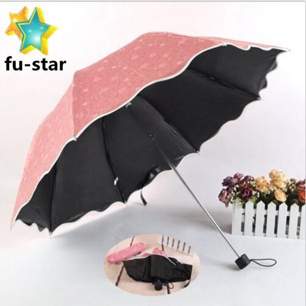 Windproof Anti Uv Clear//Rain Korean Lacework Princess Tri-Fold Folding Umbrella