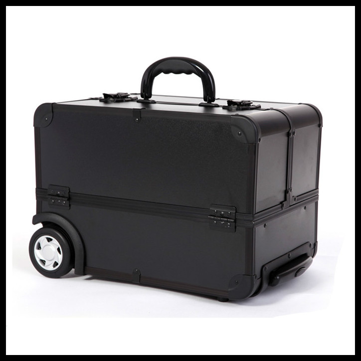 ems free shi pping professional trolley beauty box makeup case with wheels black in cosmetic. Black Bedroom Furniture Sets. Home Design Ideas
